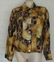 CHICO'S 1 Medium golden dahlias cheetah print linen jeans styled jacket - $21.24