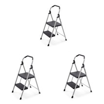 3 Pack Black Steel 2 Step Stool Ladder 225 lb. Capacity Workshop Equipme... - $97.95