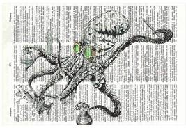 Art N Wordz Mad Octopus Scientist Original Dictionary Sheet Pop Art Prin... - $24.99