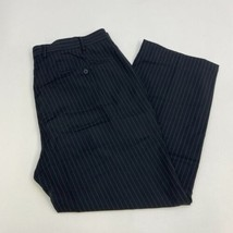 Wall Street Dress Pants Mens 40X29 Black Gray Flat Front Striped Busines... - $18.95