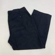 Wall Street Dress Pants Mens 40X29 Black Gray Flat Front Striped Busines... - $18.95