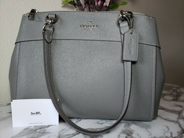COACH Brooke Carryall Crossgrain Large Crossbody Leather Bag Gray Free S... - $185.00