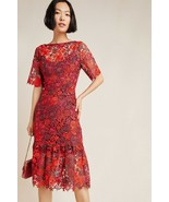 NWT ANTHROPOLOGIE BRIGITTE EMBROIDERED LACE FLORAL DRESS by EVA FRANCO 4... - $151.99