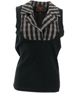 Kathleen Kirkwood Dictrac-Ease Notch Collar Top Black Plaid L NEW A369062 - $36.61