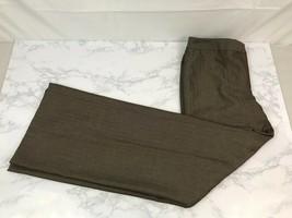 Ann Taylor Wide Leg Dress Pants Womens 8 Brown Striped Flare Career Work V - $16.54