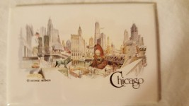 "CHICAGO ILLINOIS TIN REFRIGERATOR MAGNET-GEORGE BECKER ART-3X2""-CITY LAN... - $4.94"