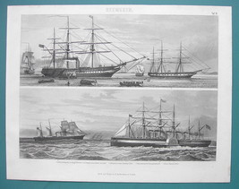 NAVY English Frigates Dauntless Great eastern - 1870s Superb Print - $39.60