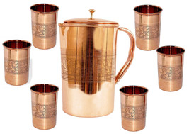 Copper Embossed Design on 1500ML Jug & 6 Glass Set Ayurvedic Health Prod... - $52.32