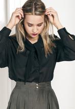 80s vintage sheer tie neck blouse - $28.31