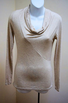 Banana Republic XS Top Heather Beige Cowl Neck Fitted Long Sleeves Sweater - $18.60
