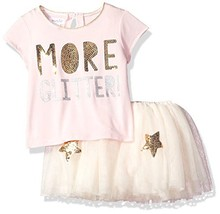 Mud Pie Baby Girls Glitter Two Piece Tutu Playwear Set, Pink, 4T - $33.10