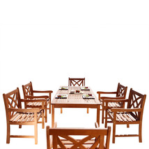 Malibu Eco-Friendly 7-Piece Wood Outdoor Dining Set V98SET13 - $891.90