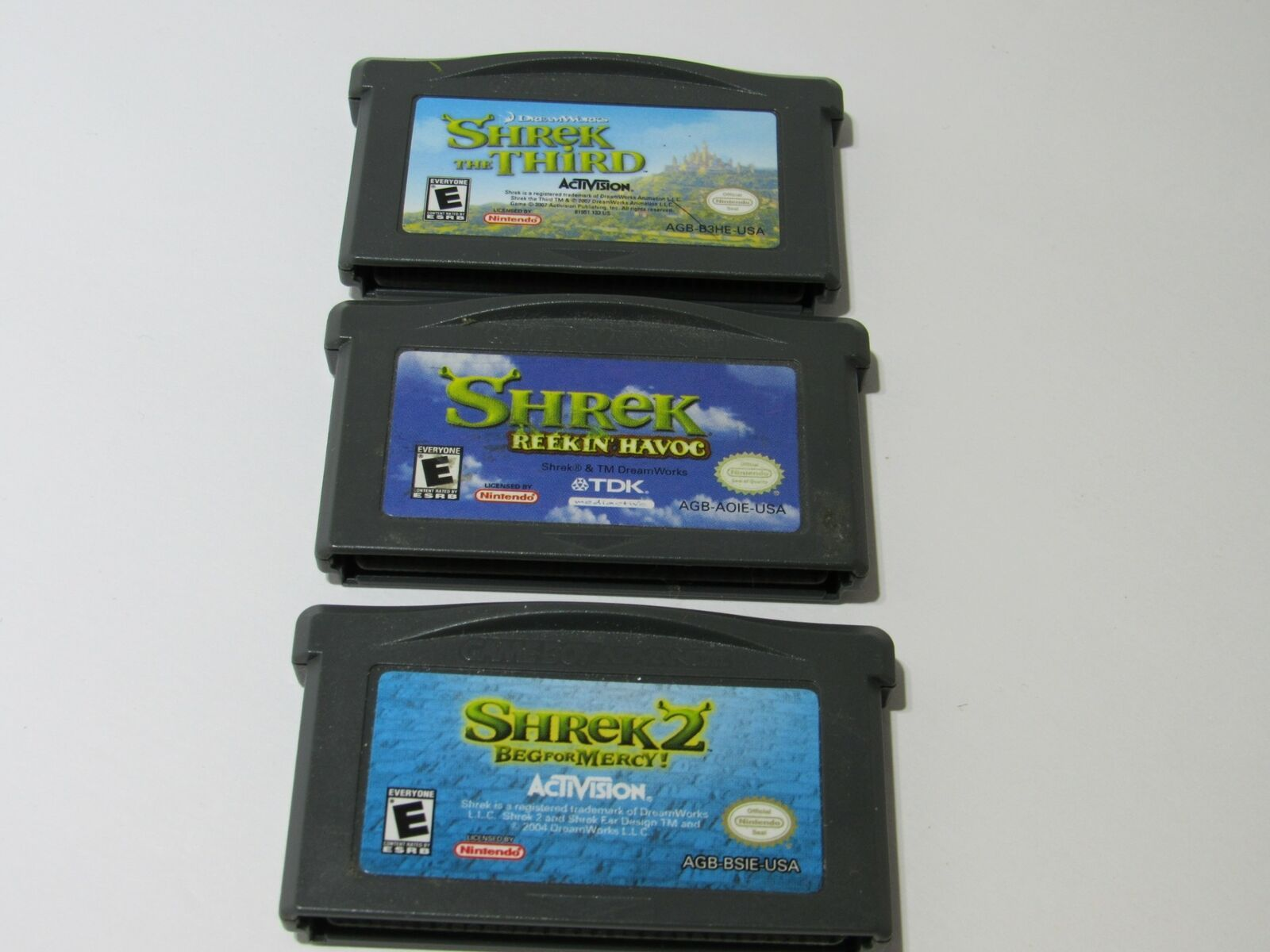 Lot of 3 Game Boy Advance Shrek Games 1-3 | Tested and Working | CARTRIDGE ONLY