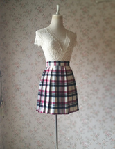 Red White Black Pleated Plaid Skirt School Style Short Pleated Plaid Skirts image 4