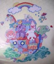 "Stamped XStitch Crib Quilt Bucilla ""NOAH'S ARK"" yellow fabric patchwork annimals - $39.99"