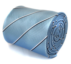 Frederick Thomas light blue tie with black and white thin stripes FT2061
