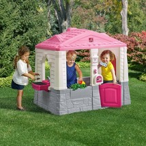 Outdoor Play House For Girls Toddlers Fun Toys Plastic Kids Cottage Play... - $365.04