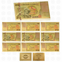 WR 10pcs Giraffe Zimbabwe One Bicentillion Dollars Gold Banknote With UV... - $14.94