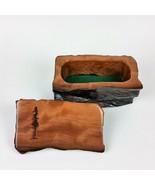 Redwood Jewelry Box Curly Wood Engraved Rustic Handmade California Stora... - $94.99