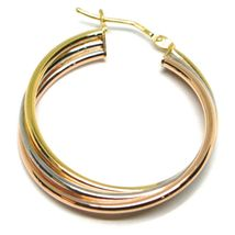 Earrings Circle White Gold, Pink, Yellow 750 18K, Twisted, 3 Tubes, 2.8 CM image 3