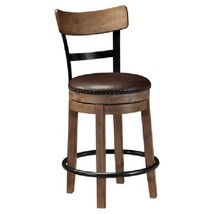 Vintage Counter Height Stool Wooden Faux Leather Upholstery Metal Nailhe... - $215.83