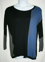DKNY Jeans Misses MEDIUM Sweater Tunic Pullover Blue Gray Black Stripe C... - $16.45