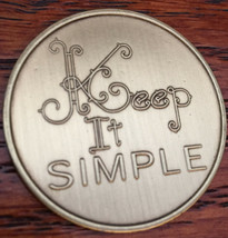 Keep It Simple Serenity Prayer Bronze Recovery Medallion Coin AA NA Chip - $2.99