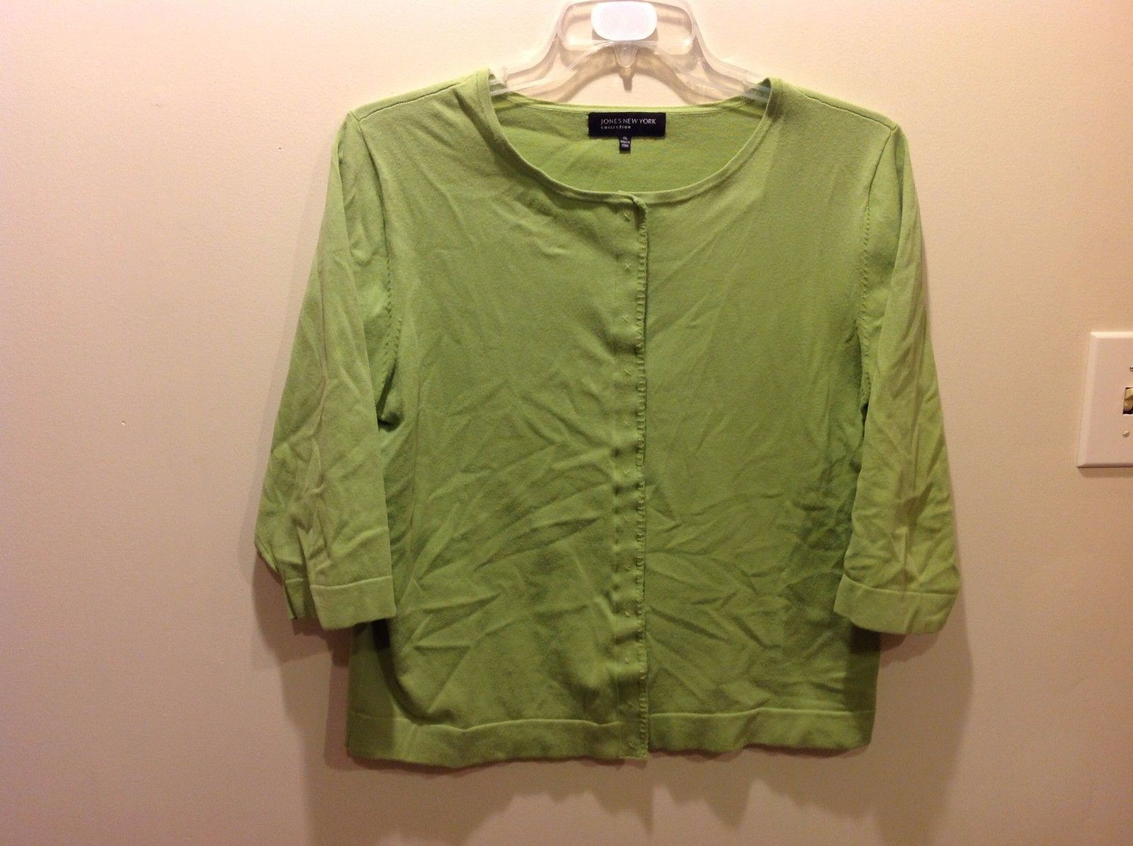 Jones New York Spring Green 3/4 Sleeve Button Up Cardigan Sz XL