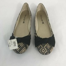 American Eagle Womens Ballet Flat Shoes Black Beige Geometric Bow Slip Ons 8 New - $31.27