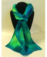 Hand Painted Silk Scarf Lime Green Turquoise Womens Unique Head Neck Wra... - £40.98 GBP