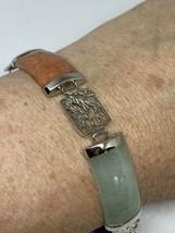 Vintage Mixed Jade Garnet Bracelet 925 Sterling Silver Deco - $130.68