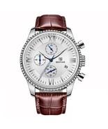 Benyar Men's Leather Chronograph Wrist Watch BY-5129M (Brown & Silver) - $40.00