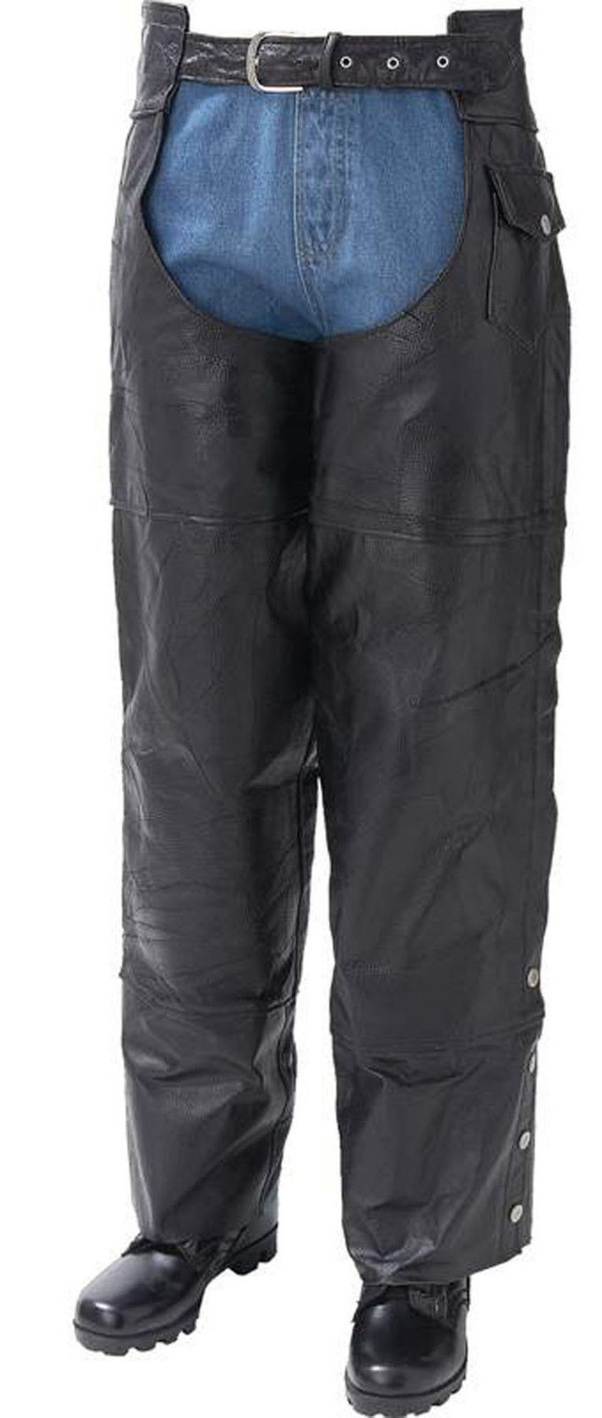 Black Leather Motorcycle Riding Chaps Lined Men Women Unisex Biker-Style