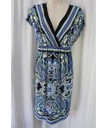AGB Dress Sz M Black Blue Multi Color Sleeveless V Neck Geometric Patter... - €35,56 EUR
