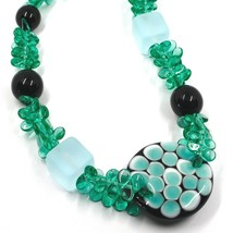 NECKLACE GREEN BLACK MURANO GLASS BUNCH OF PETAL DROPS SQUARE DISC ITALY MADE image 2