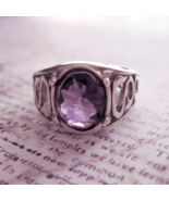 Intricate Ring with Purple Stone Sterling Silver Vintage Band Ring Size 7 - £12.97 GBP