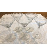 Five Antique etched crystal liquor glasses vintage glassware barware - $20.50