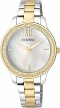 Women's Citizen Two Tone Gold Silver Crystallized Watch EL3084-50D - £74.19 GBP