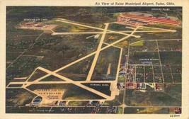 Tulsa Municipal Airport Oklahoma Aerial View 1947 linen postcard - $5.89