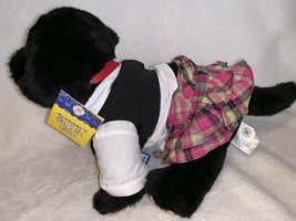 Build a Bear Pet Black Lab Dog Plush w Collar And Justice Preppy Outfit ... - $14.99