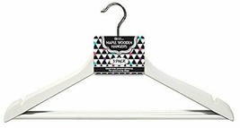6 pack Maple Wood Coat and Suit Hangers with Lingerie Notch Grey Smooth - $18.69