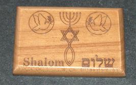 Israel Olive Wood Small Magnet Judaica Messianic Menorah Jerusalem Peace Dove image 4