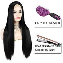 G&T Wig Black Lace Front Wig Long Straight Black Wig Heat Resistant Synthetic Ha image 6