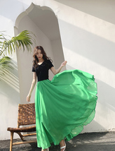 High Waist Full Chiffon Skirt Beach Bridesmaid Chiffon Skirts, Red yellow green image 11