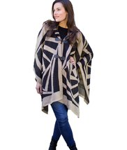 Modadorn Rotated Square Pattern Hooded Cape (BLACK) - $29.69