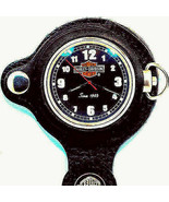 Harley Davidson Motor Cycle Pocket Watch, New Black Dial And Leather Pou... - $196.86