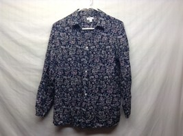 Croft & Barrow Dark Blue Floral Print Button Up Blouse Sz LG