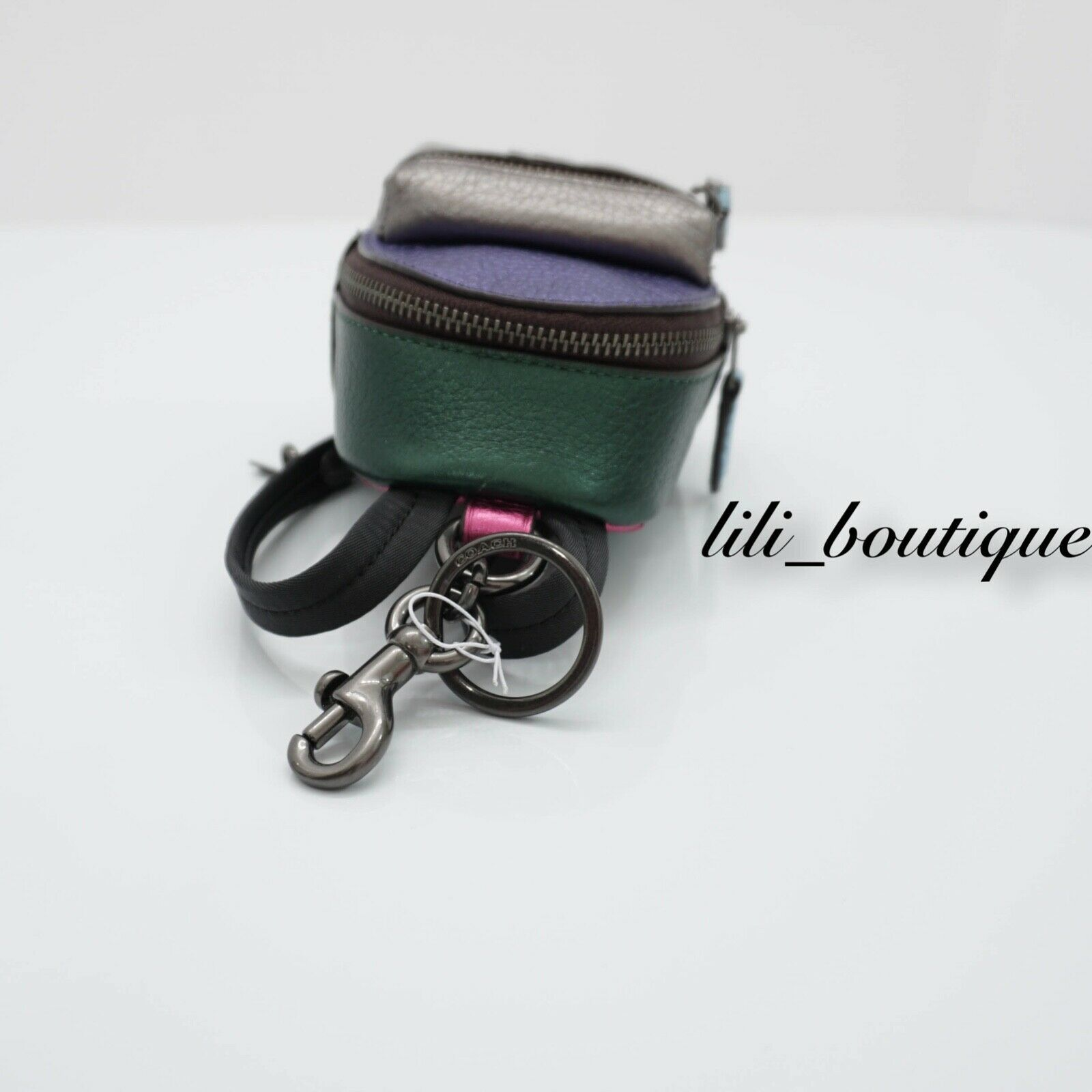 NWT Coach F39972 Metallic Colorblock Mini Backpack Coin Bag Charm Keyring $125 image 8