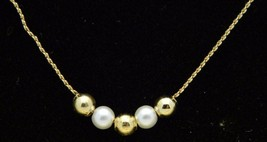 Vintage MIA Gold Tone Faux Pearl Dainty Choker Necklace - $19.80