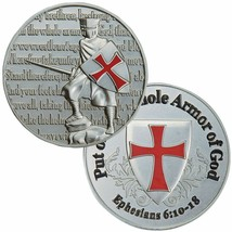 "PUT ON THE WHOLE ARMOR  OF GOD PRAYER 1.75""  CHALLENGE COIN - $17.14"